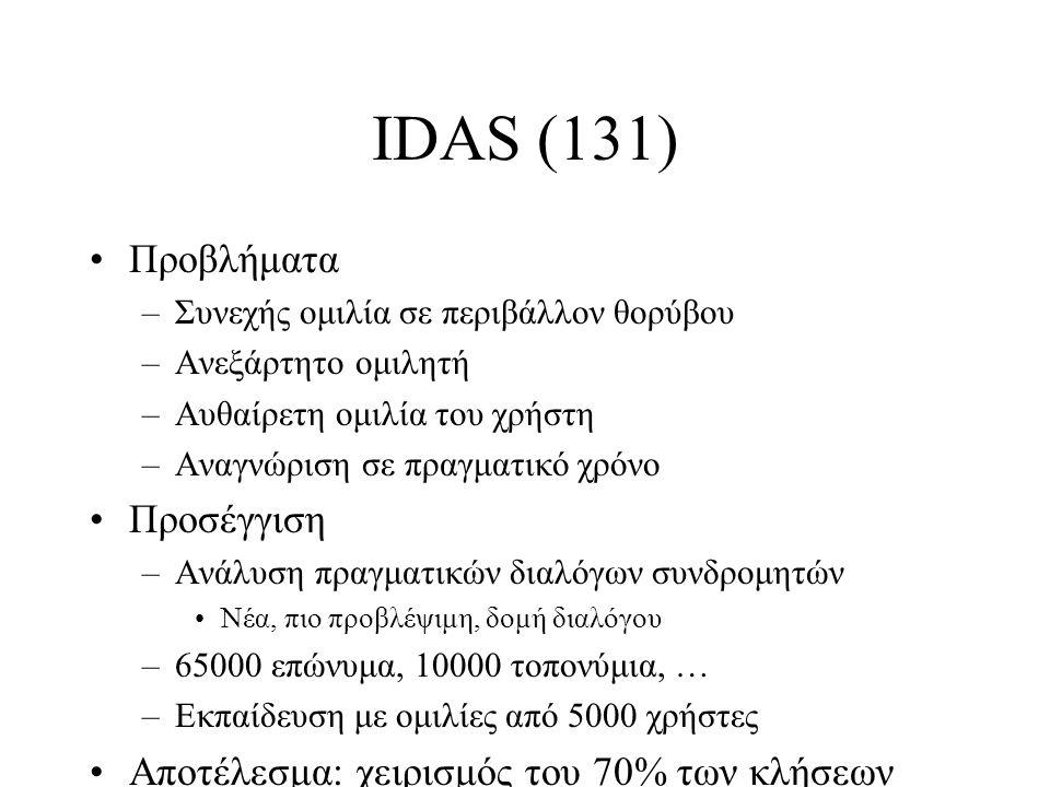 IDAS (131) Προβλήματα –Συνεχής ομιλία σε περιβάλλον θορύβου –Ανεξάρτητο ομιλητή –Αυθαίρετη ομιλία του χρήστη –Αναγνώριση σε πραγματικό χρόνο Προσέγγιση –Ανάλυση πραγματικών διαλόγων συνδρομητών Νέα, πιο προβλέψιμη, δομή διαλόγου –65000 επώνυμα, 10000 τοπονύμια, … –Εκπαίδευση με ομιλίες από 5000 χρήστες Αποτέλεσμα: χειρισμός του 70% των κλήσεων