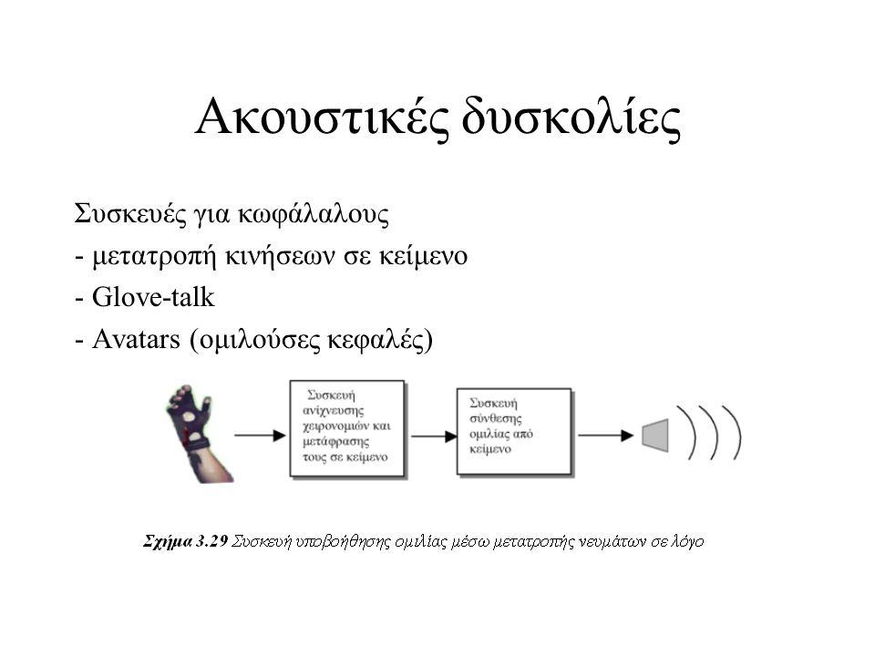 Ακουστικές δυσκολίες Συσκευές για κωφάλαλους - μετατροπή κινήσεων σε κείμενο - Glove-talk - Avatars (ομιλούσες κεφαλές)