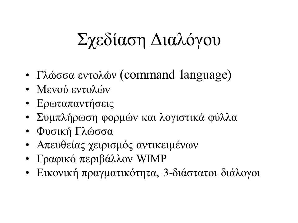 Σχεδίαση Διαλόγου Γλώσσα εντολών (command language) Μενού εντολών Ερωταπαντήσεις Συμπλήρωση φορμών και λογιστικά φύλλα Φυσική Γλώσσα Απευθείας χειρισμός αντικειμένων Γραφικό περιβάλλον WIMP Εικονική πραγματικότητα, 3-διάστατοι διάλογοι