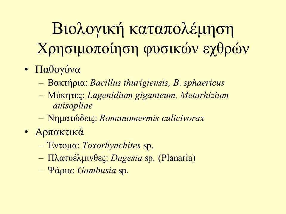 Βιολογική καταπολέμηση Χρησιμοποίηση φυσικών εχθρών Παθογόνα –Βακτήρια: Bacillus thurigiensis, B.