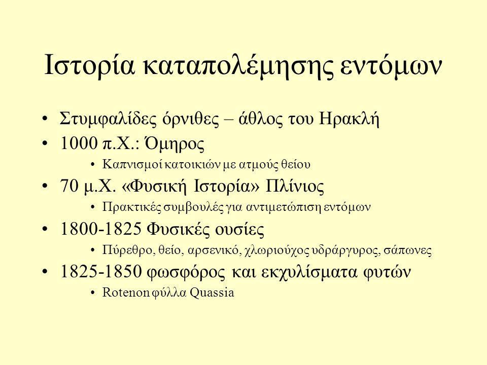 Ιστορία καταπολέμησης εντόμων Στυμφαλίδες όρνιθες – άθλος του Ηρακλή 1000 π.Χ.: Όμηρος Καπνισμοί κατοικιών με ατμούς θείου 70 μ.Χ. «Φυσική Ιστορία» Πλ