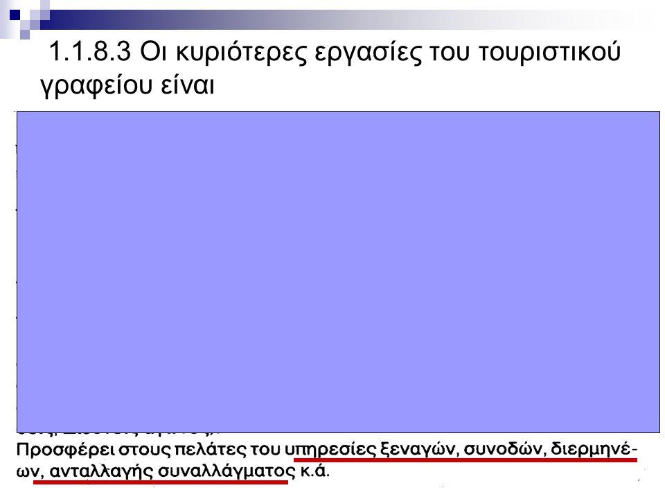 1o ΕΠΑ.Λ. ΡΕΘΥΜΝΟΥ Όλγα Πατραμάνη 1.1.8.3 Οι κυριότερες εργασίες του τουριστικού γραφείου είναι