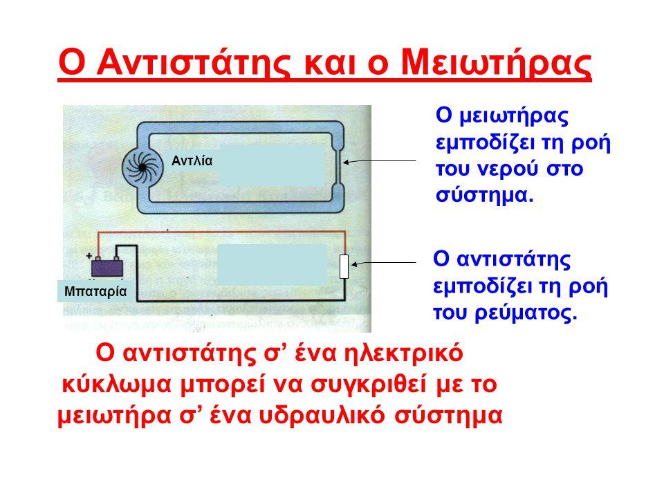 Ο Αντιστάτης και ο Μειωτήρας Ο μειωτήρας εμποδίζει τη ροή του νερού στο σύστημα.