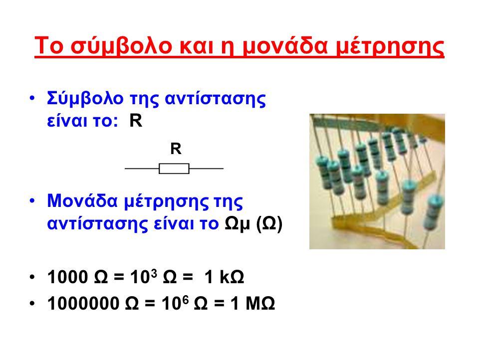 Το σύμβολο και η μονάδα μέτρησης Σύμβολο της αντίστασης είναι το: R Μονάδα μέτρησης της αντίστασης είναι το Ωμ (Ω) 1000 Ω = 10 3 Ω = 1 kΩ 1000000 Ω = 10 6 Ω = 1 ΜΩ R