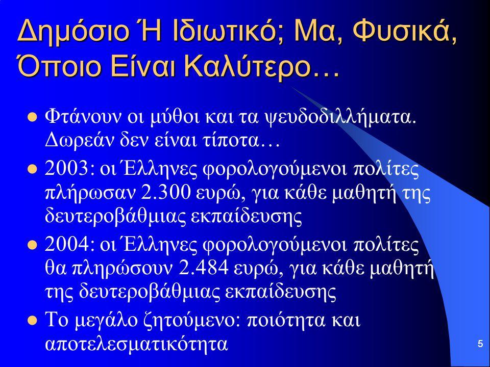 5 Δημόσιο Ή Ιδιωτικό; Μα, Φυσικά, Όποιο Είναι Καλύτερο… Φτάνουν οι μύθοι και τα ψευδοδιλλήματα. Δωρεάν δεν είναι τίποτα… 2003: οι Έλληνες φορολογούμεν