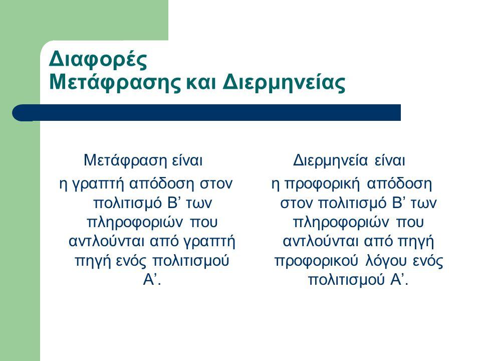 Μετάφραση και Διερμηνεία: Eιδικές περιπτώσεις Διαπολιτισμικής Επικοινωνίας.