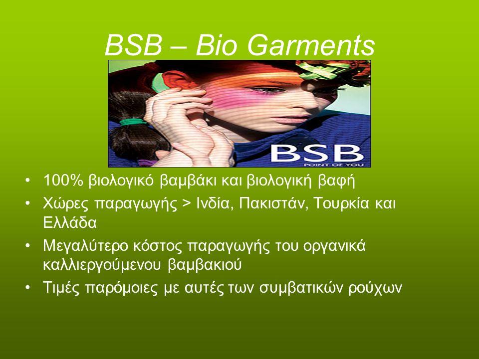 BSB – Bio Garments 100% βιολογικό βαμβάκι και βιολογική βαφή Χώρες παραγωγής > Ινδία, Πακιστάν, Τουρκία και Ελλάδα Μεγαλύτερο κόστος παραγωγής του οργ