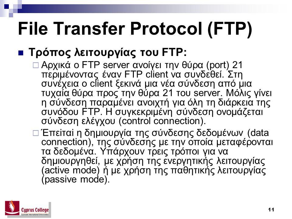11 File Transfer Protocol (FTP) Τρόπος λειτουργίας του FTP:  Aρχικά ο FTP server ανοίγει την θύρα (port) 21 περιμένοντας έναν FTP client να συνδεθεί.