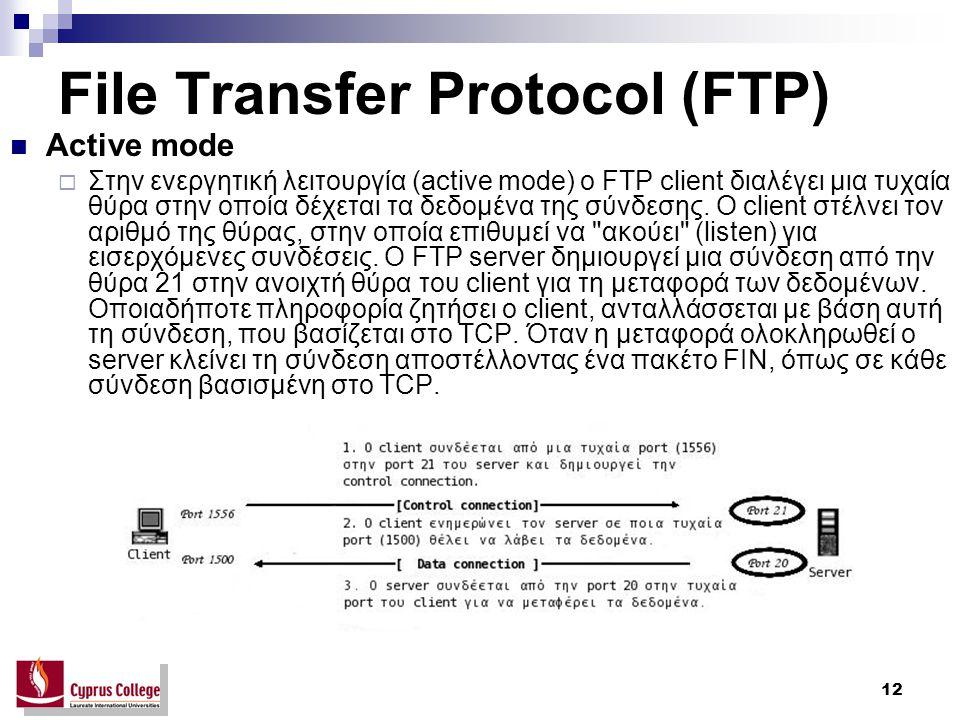 12 File Transfer Protocol (FTP) Active mode  Στην ενεργητική λειτουργία (active mode) ο FTP client διαλέγει μια τυχαία θύρα στην οποία δέχεται τα δεδ