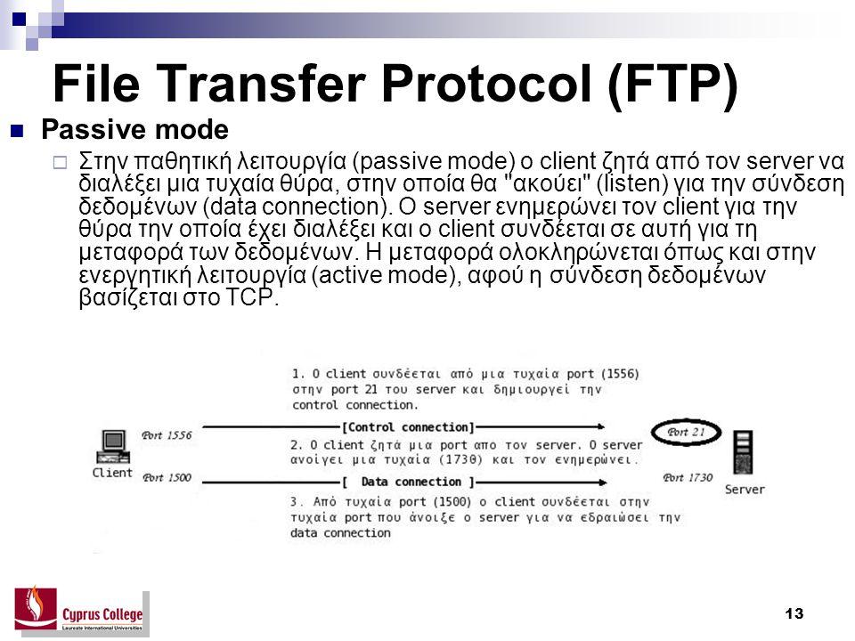 13 File Transfer Protocol (FTP) Passive mode  Στην παθητική λειτουργία (passive mode) ο client ζητά από τον server να διαλέξει μια τυχαία θύρα, στην