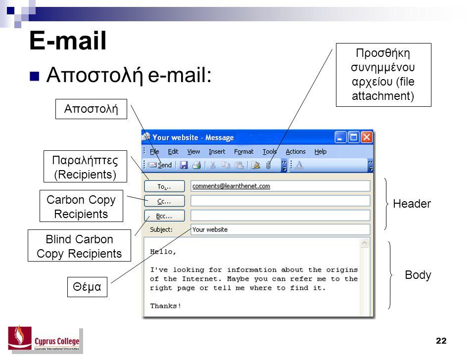 22 E-mail Αποστολή e-mail: Header Body Παραλήπτες (Recipients) Carbon Copy Recipients Blind Carbon Copy Recipients Θέμα Αποστολή Προσθήκη συνημμένου α
