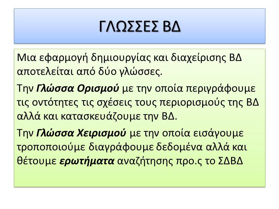 ΓΛΩΣΣΕΣ ΒΔ Μια εφαρμογή δημιουργίας και διαχείρισης ΒΔ αποτελείται από δύο γλώσσες. Την Γλώσσα Ορισμού με την οποία περιγράφουμε τις οντότητες τις σχέ