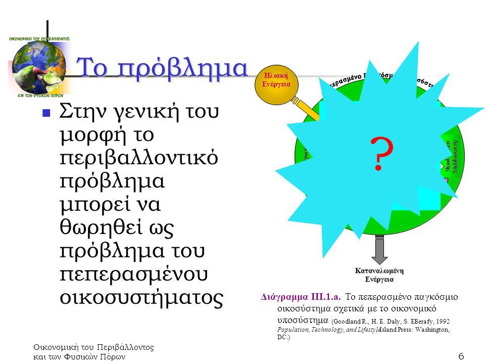 Οικονομική του Περιβάλλοντος και των Φυσικών Πόρων 6 Στην γενική του μορφή το περιβαλλοντικό πρόβλημα μπορεί να θωρηθεί ως πρόβλημα του πεπερασμένου οικοσυστήματος Διάγραμμα ΙΙΙ.1.a.