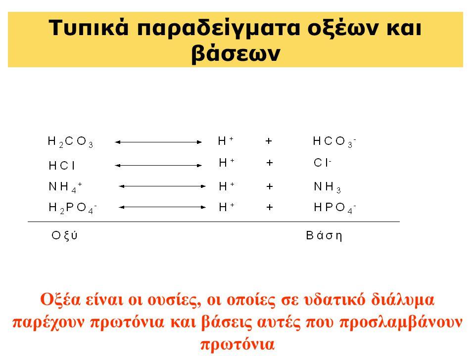 Τυπικά παραδείγματα οξέων και βάσεων Οξέα είναι οι ουσίες, οι οποίες σε υδατικό διάλυμα παρέχουν πρωτόνια και βάσεις αυτές που προσλαμβάνουν πρωτόνια