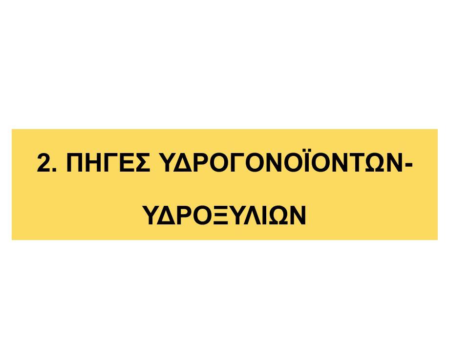 2. ΠΗΓΕΣ ΥΔΡΟΓΟΝΟΪΟΝΤΩΝ- ΥΔΡΟΞΥΛΙΩΝ