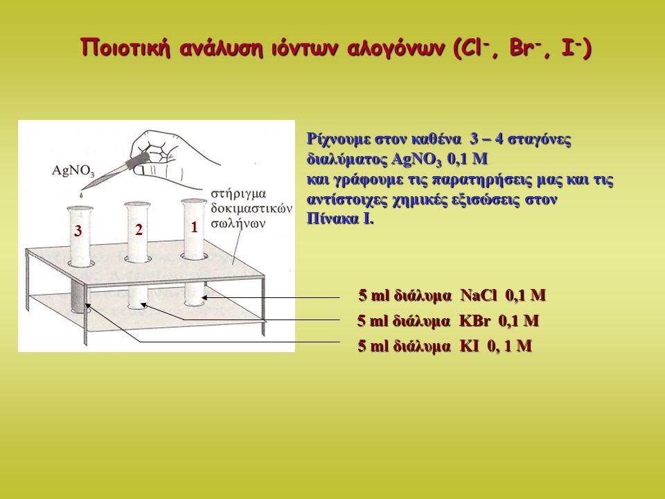 Ποιοτική ανάλυση ιόντων αλογόνων (Cl -, Br -, I - ) 3 1 2 Ρίχνουμε στον καθένα 3 – 4 σταγόνες διαλύματος AgNO 3 0,1 M και γράφουμε τις παρατηρήσεις μα