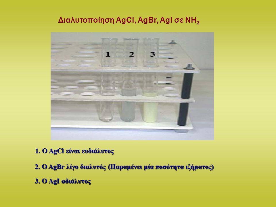Διαλυτοποίηση AgCl, AgBr, AgI σε ΝΗ 3 1. O AgCl είναι ευδιάλυτος 2. O AgBr λίγο διαλυτός (Παραμένει μία ποσότητα ιζήματος) 3. O AgΙ αδιάλυτος
