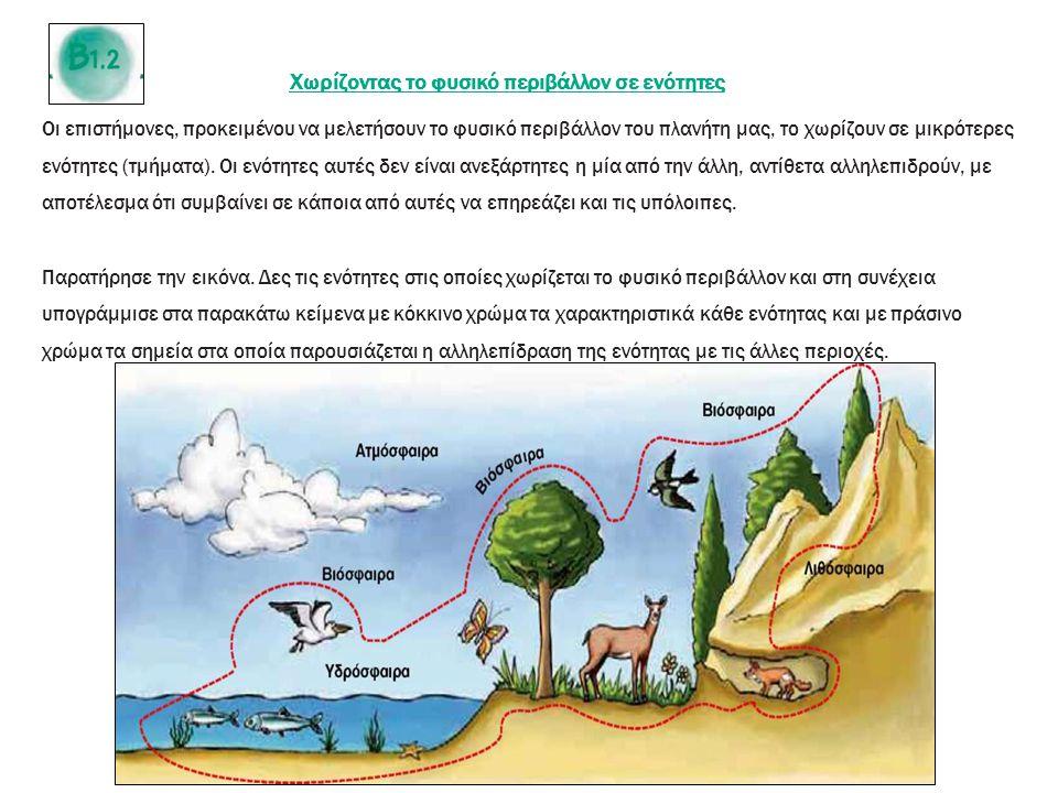 Χωρίζοντας το φυσικό περιβάλλον σε ενότητες Οι επιστήμονες, προκειμένου να μελετήσουν το φυσικό περιβάλλον του πλανήτη μας, το χωρίζουν σε μικρότερες