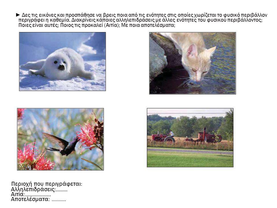 ► Δες τις εικόνες και προσπάθησε να βρεις ποια από τις ενότητες στις οποίες χωρίζεται το φυσικό περιβάλλον περιγράφει η καθεμία. Διακρίνεις κάποιες αλ
