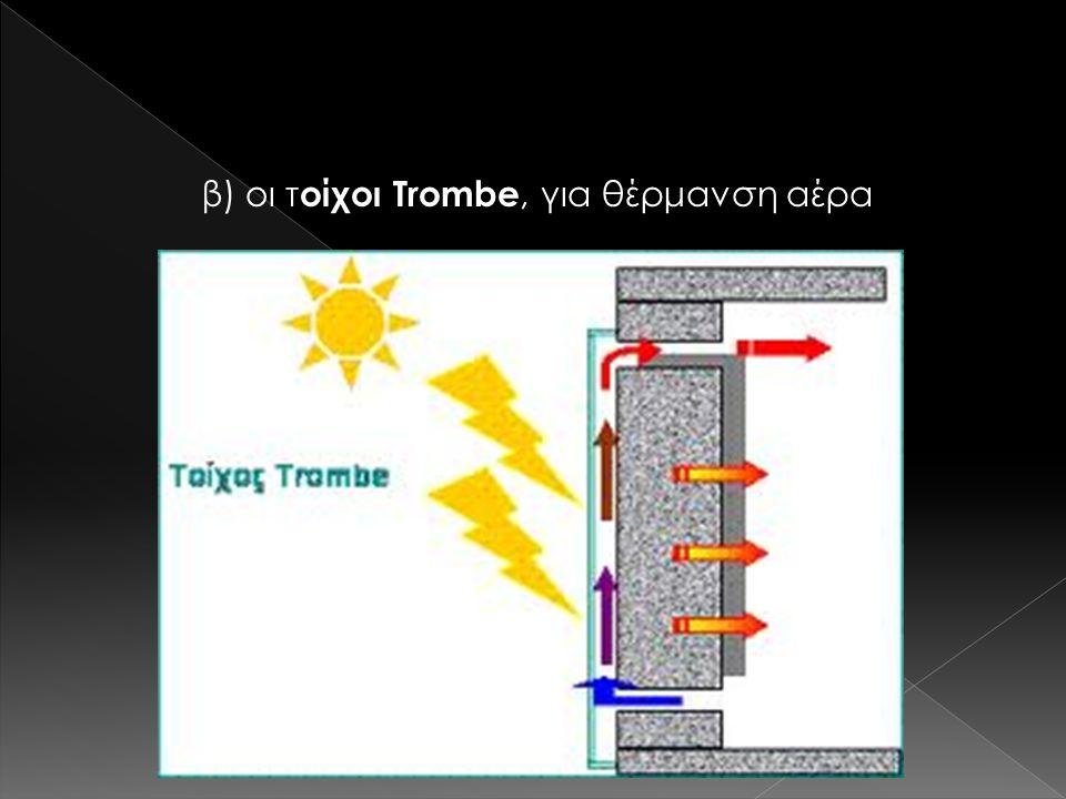 β) οι τ οίχοι Trombe, για θέρμανση αέρα