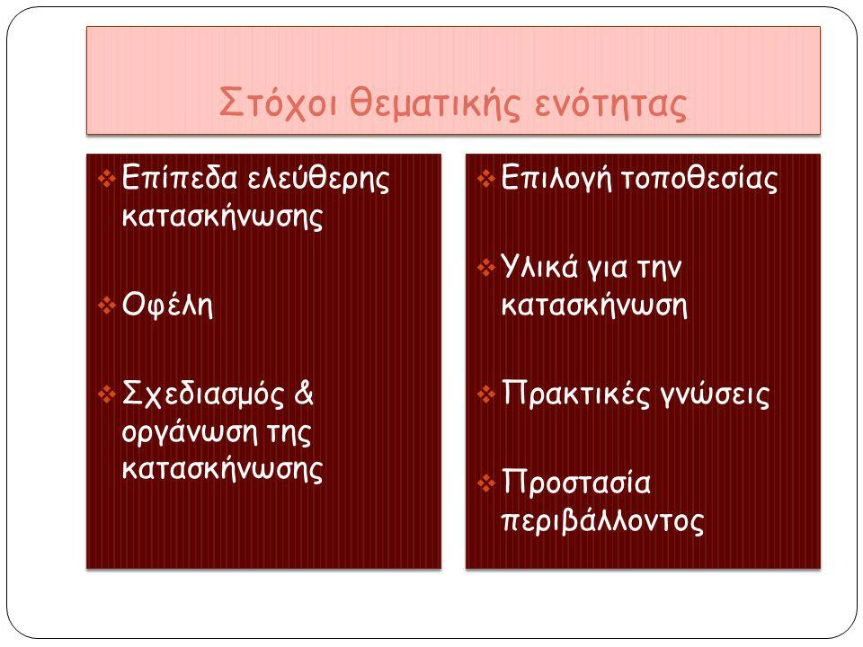 Στόχοι θεματικής ενότητας  Επίπεδα ελεύθερης κατασκήνωσης  Οφέλη  Σχεδιασμός & οργάνωση της κατασκήνωσης  Επίπεδα ελεύθερης κατασκήνωσης  Οφέλη 