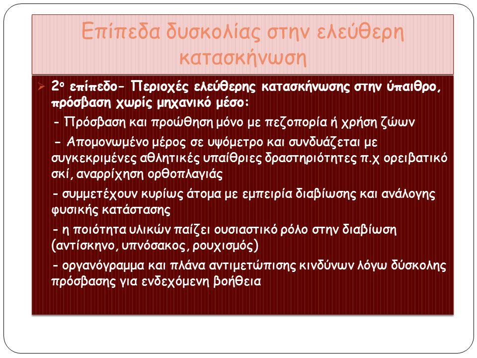 Επίπεδα δυσκολίας στην ελεύθερη κατασκήνωση 3 ο επίπεδο-Χειμερινή ελεύθερη κατασκήνωση στην ύπαιθρο: - Άτομα με εξειδικευμένες γνώσεις - Ειδικός εξοπλισμός - ολοκληρωμένοι ορειβάτες/χιονοδρόμοι - Εμπεριέχει σοβαρούς κινδύνους(χιονοστιβάδες)-δυσκολία στη διαβίωση-διατήρηση νερού-μαγείρεμα-συμβίωση μέσα σε αντίσκηνο για πολλές μέρες λόγο κακοκαιρίας - Σκοπός: κατάκτηση απομακρυσμένης κορυφής 3 ο επίπεδο-Χειμερινή ελεύθερη κατασκήνωση στην ύπαιθρο: - Άτομα με εξειδικευμένες γνώσεις - Ειδικός εξοπλισμός - ολοκληρωμένοι ορειβάτες/χιονοδρόμοι - Εμπεριέχει σοβαρούς κινδύνους(χιονοστιβάδες)-δυσκολία στη διαβίωση-διατήρηση νερού-μαγείρεμα-συμβίωση μέσα σε αντίσκηνο για πολλές μέρες λόγο κακοκαιρίας - Σκοπός: κατάκτηση απομακρυσμένης κορυφής