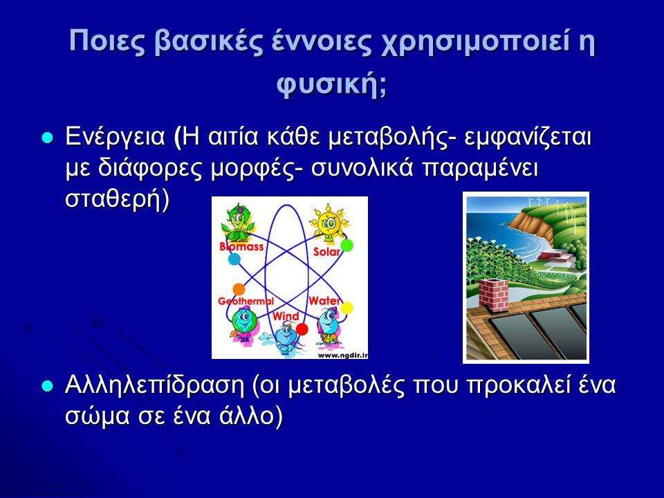 Ποιες βασικές έννοιες χρησιμοποιεί η φυσική; Ενέργεια (Η αιτία κάθε μεταβολής- εμφανίζεται με διάφορες μορφές- συνολικά παραμένει σταθερή) Ενέργεια (Η