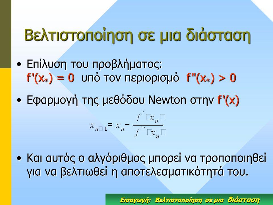 Βελτιστοποίηση σε μια διάσταση Επίλυση του προβλήματος: f (x * ) = 0 υπό τον περιορισμό f (x * ) > 0Επίλυση του προβλήματος: f (x * ) = 0 υπό τον περιορισμό f (x * ) > 0 Eφαρμογή της μεθόδου Newton στην f (x)Eφαρμογή της μεθόδου Newton στην f (x) Και αυτός ο αλγόριθμος μπορεί να τροποποιηθεί για να βελτιωθεί η αποτελεσματικότητά του.Και αυτός ο αλγόριθμος μπορεί να τροποποιηθεί για να βελτιωθεί η αποτελεσματικότητά του.
