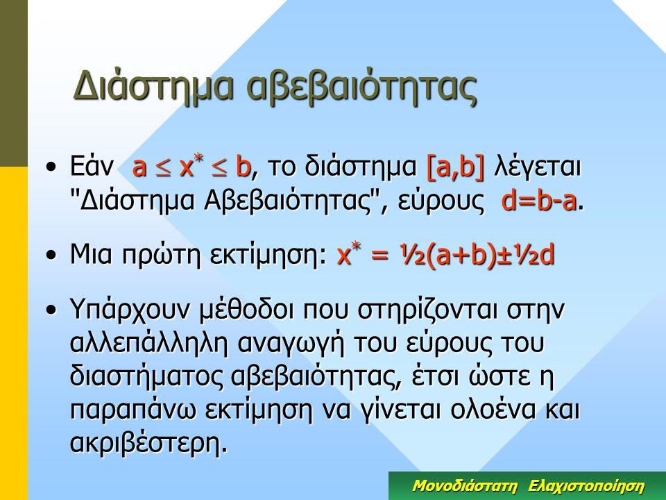 Διάστημα αβεβαιότητας Εάν a  x *  b, το διάστημα [a,b] λέγεται Διάστημα Αβεβαιότητας , εύρους d=b-a.Εάν a  x *  b, το διάστημα [a,b] λέγεται Διάστημα Αβεβαιότητας , εύρους d=b-a.
