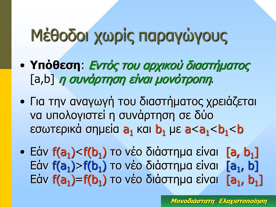 Μέθοδοι χωρίς παραγώγους Υπόθεση: Εντός του αρχικού διαστήματος [a,b] η συνάρτηση είναι μονότροπη.Υπόθεση: Εντός του αρχικού διαστήματος [a,b] η συνάρτηση είναι μονότροπη.