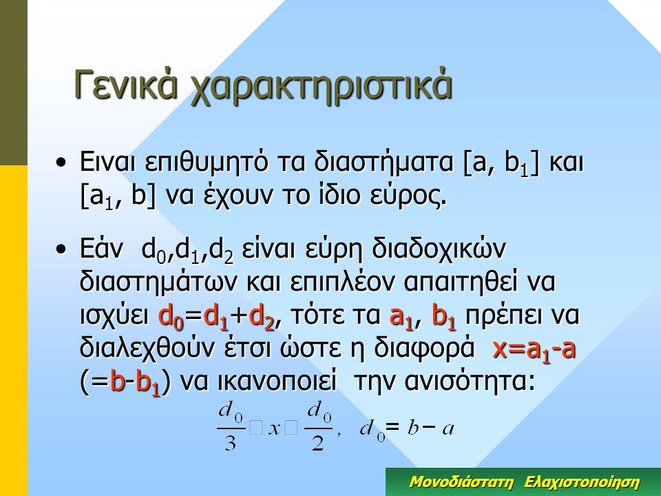 Γενικά χαρακτηριστικά Ειναι επιθυμητό τα διαστήματα [a, b 1 ] και [a 1, b] να έχουν το ίδιο εύρος.Ειναι επιθυμητό τα διαστήματα [a, b 1 ] και [a 1, b] να έχουν το ίδιο εύρος.