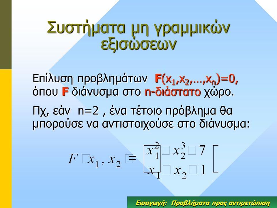Συστήματα μη γραμμικών εξισώσεων Επίλυση προβλημάτων F(x 1,x 2,…,x n )=0, όπου F διάνυσμα στο n-διάστατο χώρο. Πχ, εάν n=2, ένα τέτοιο πρόβλημα θα μπο