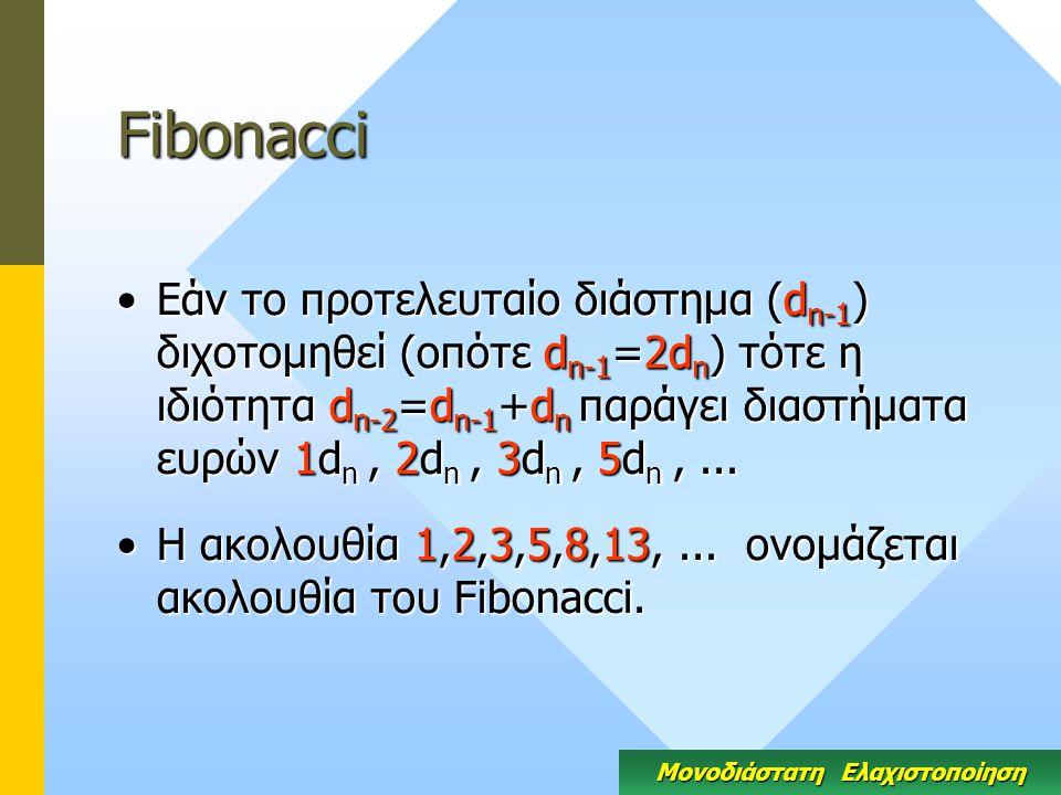 Fibonacci Εάν το προτελευταίο διάστημα (d n-1 ) διχοτομηθεί (οπότε d n-1 =2d n ) τότε η ιδιότητα d n-2 =d n-1 +d n παράγει διαστήματα ευρών 1d n, 2d n, 3d n, 5d n,...Εάν το προτελευταίο διάστημα (d n-1 ) διχοτομηθεί (οπότε d n-1 =2d n ) τότε η ιδιότητα d n-2 =d n-1 +d n παράγει διαστήματα ευρών 1d n, 2d n, 3d n, 5d n,...