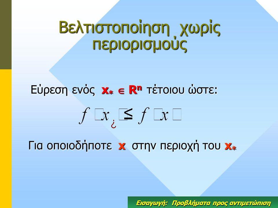 Βελτιστοποίηση χωρίς περιορισμούς Εύρεση ενός x *  R n τέτοιου ώστε: Για οποιοδήποτε x στην περιοχή του x * Εισαγωγή: Προβλήματα προς αντιμετώπιση