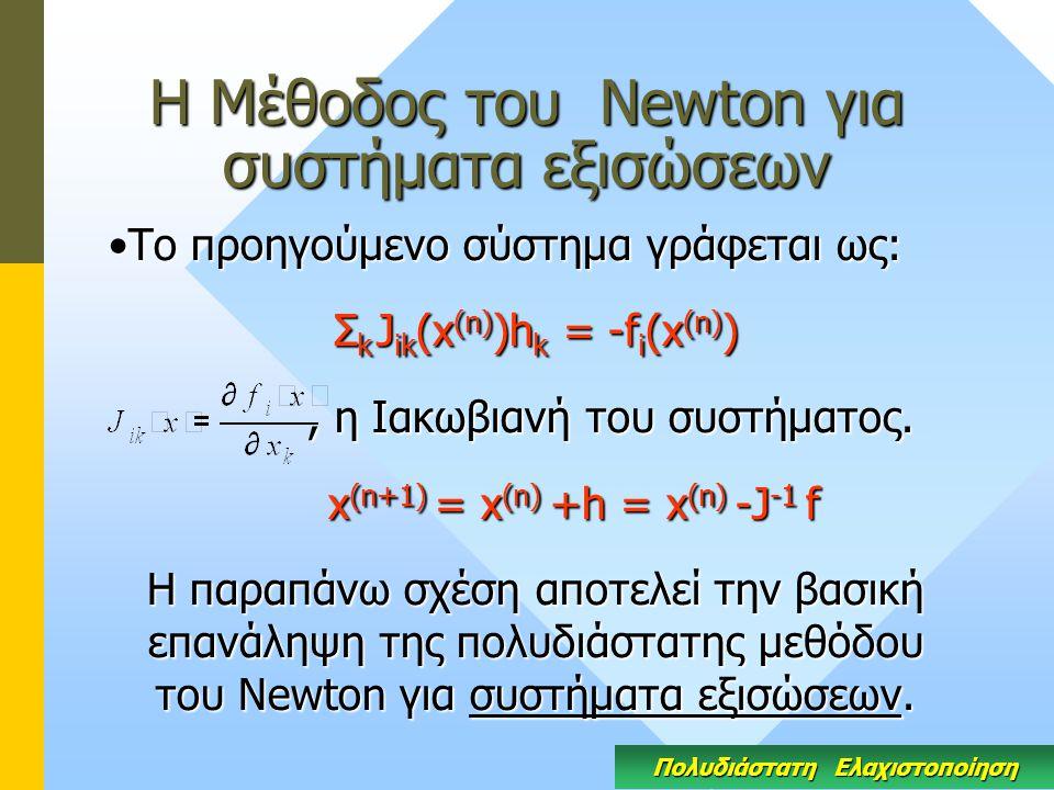 Η Μέθοδος του Newton για συστήματα εξισώσεων Το προηγούμενο σύστημα γράφεται ως:Το προηγούμενο σύστημα γράφεται ως: Σ k J ik (x (n) )h k = -f i (x (n) ), η Ιακωβιανή του συστήματος., η Ιακωβιανή του συστήματος.