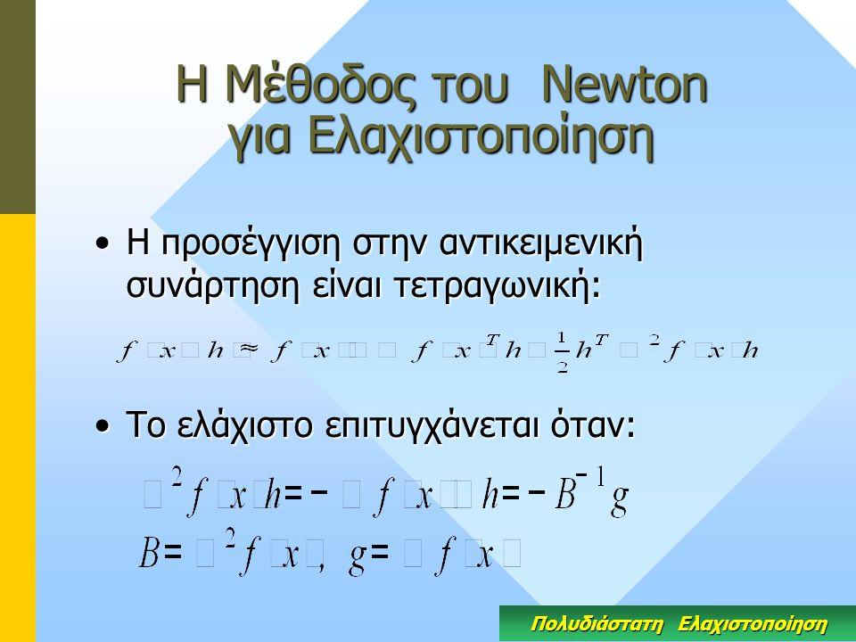 Η Μέθοδος του Newton για Ελαχιστοποίηση Η προσέγγιση στην αντικειμενική συνάρτηση είναι τετραγωνική:Η προσέγγιση στην αντικειμενική συνάρτηση είναι τετραγωνική: Το ελάχιστο επιτυγχάνεται όταν:Το ελάχιστο επιτυγχάνεται όταν: Πολυδιάστατη Ελαχιστοποίηση