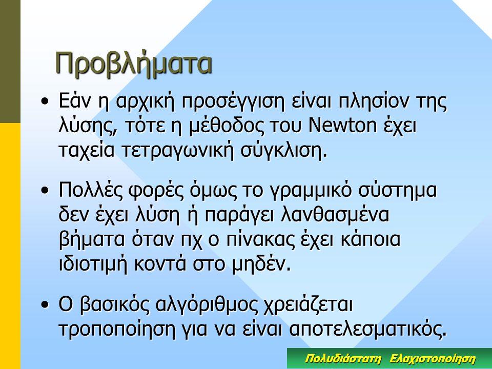 Προβλήματα Εάν η αρχική προσέγγιση είναι πλησίον της λύσης, τότε η μέθοδος του Newton έχει ταχεία τετραγωνική σύγκλιση.Εάν η αρχική προσέγγιση είναι πλησίον της λύσης, τότε η μέθοδος του Newton έχει ταχεία τετραγωνική σύγκλιση.