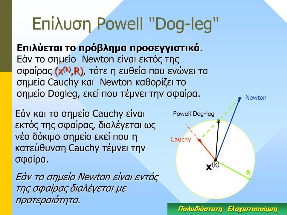 Eπίλυση Powell Dog-leg Πολυδιάστατη Ελαχιστοποίηση Επιλύεται το πρόβλημα προσεγγιστικά.