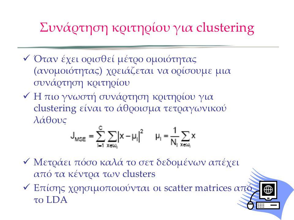 Συνάρτηση κριτηρίου για clustering Όταν έχει ορισθεί μέτρο ομοιότητας (ανομοιότητας) χρειάζεται να ορίσουμε μια συνάρτηση κριτηρίου Η πιο γνωστή συνάρτηση κριτηρίου για clustering είναι το άθροισμα τετραγωνικού λάθους Μετράει πόσο καλά το σετ δεδομένων απέχει από τα κέντρα των clusters Επίσης χρησιμοποιούνται οι scatter matrices από το LDA