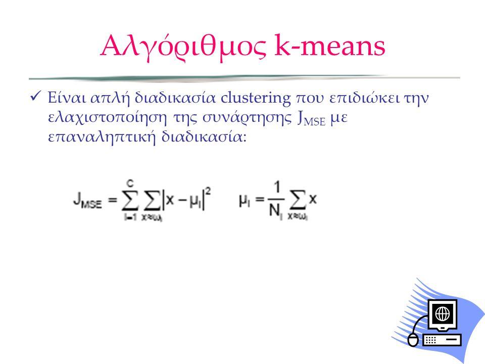 Αλγόριθμος k-means Είναι απλή διαδικασία clustering που επιδιώκει την ελαχιστοποίηση της συνάρτησης J MSE με επαναληπτική διαδικασία: