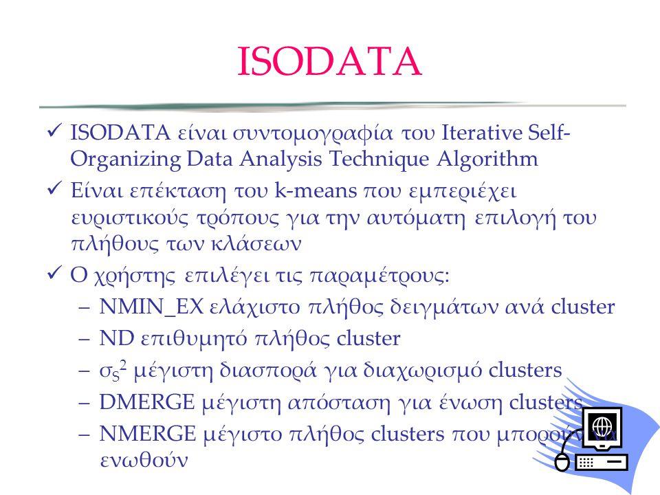 ISODATA ISODATA είναι συντομογραφία του Iterative Self- Organizing Data Analysis Technique Algorithm Είναι επέκταση του k-means που εμπεριέχει ευριστικούς τρόπους για την αυτόματη επιλογή του πλήθους των κλάσεων Ο χρήστης επιλέγει τις παραμέτρους: –NMIN_EX ελάχιστο πλήθος δειγμάτων ανά cluster –ND επιθυμητό πλήθος cluster –σ S 2 μέγιστη διασπορά για διαχωρισμό clusters –DMERGE μέγιστη απόσταση για ένωση clusters –NMERGE μέγιστο πλήθος clusters που μπορούν να ενωθούν