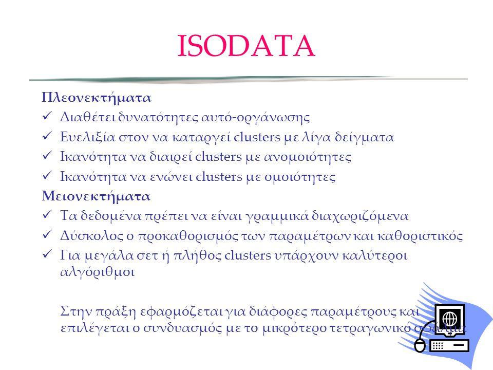 ISODATA Πλεονεκτήματα Διαθέτει δυνατότητες αυτό-οργάνωσης Ευελιξία στον να καταργεί clusters με λίγα δείγματα Ικανότητα να διαιρεί clusters με ανομοιότητες Ικανότητα να ενώνει clusters με ομοιότητες Μειονεκτήματα Τα δεδομένα πρέπει να είναι γραμμικά διαχωριζόμενα Δύσκολος ο προκαθορισμός των παραμέτρων και καθοριστικός Για μεγάλα σετ ή πλήθος clusters υπάρχουν καλύτεροι αλγόριθμοι Στην πράξη εφαρμόζεται για διάφορες παραμέτρους και επιλέγεται ο συνδυασμός με το μικρότερο τετραγωνικό σφάλμα