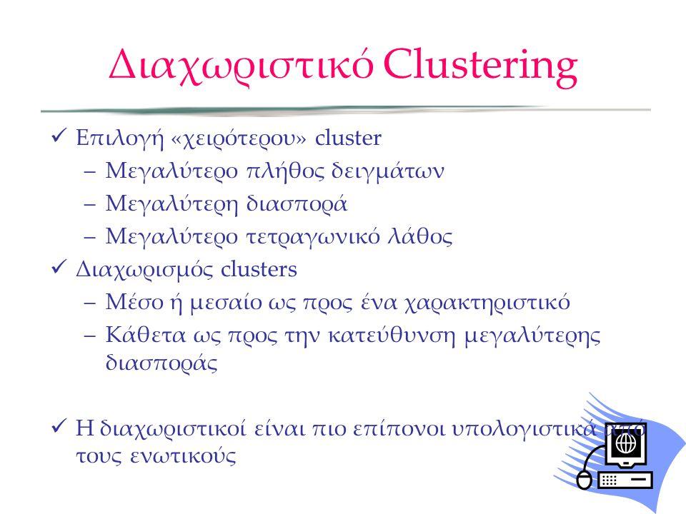 Διαχωριστικό Clustering Επιλογή «χειρότερου» cluster –Μεγαλύτερο πλήθος δειγμάτων –Μεγαλύτερη διασπορά –Μεγαλύτερο τετραγωνικό λάθος Διαχωρισμός clusters –Μέσο ή μεσαίο ως προς ένα χαρακτηριστικό –Κάθετα ως προς την κατεύθυνση μεγαλύτερης διασποράς Η διαχωριστικοί είναι πιο επίπονοι υπολογιστικά από τους ενωτικούς