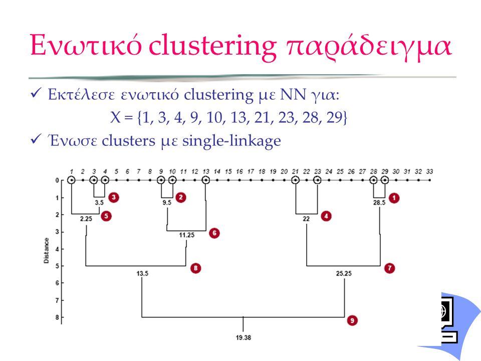 Ενωτικό clustering παράδειγμα Εκτέλεσε ενωτικό clustering με ΝΝ για: X = {1, 3, 4, 9, 10, 13, 21, 23, 28, 29} Ένωσε clusters με single-linkage