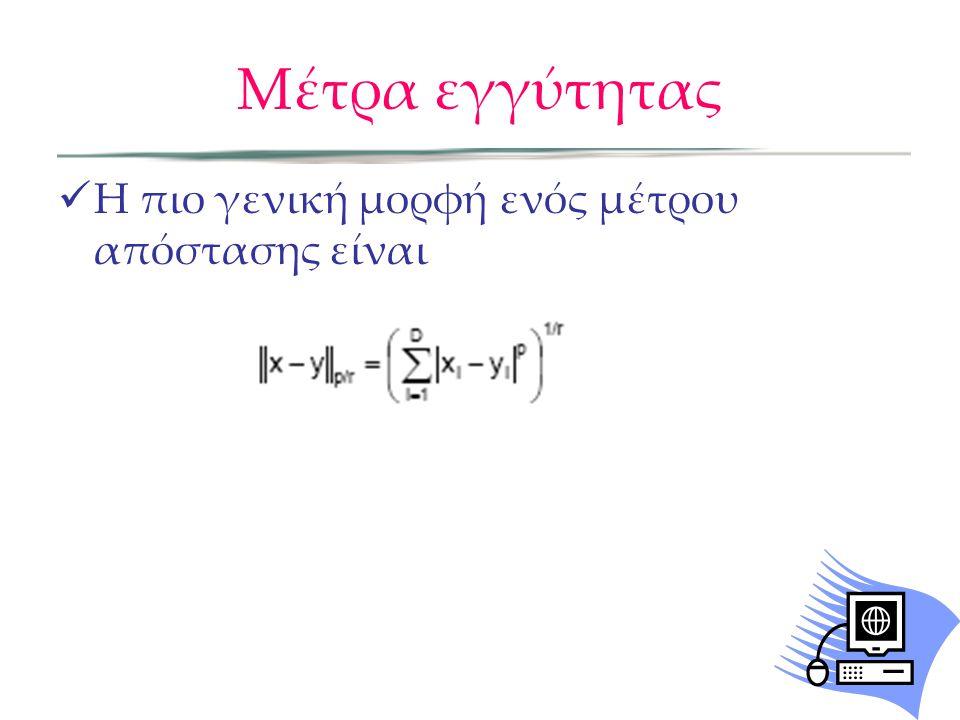 Ενωτικό clustering Ελάχιστη Απόσταση Όταν χρησιμοποιείται το d min για την απόσταση μεταξύ clusters, πρόκειται για τον ΝΝ αλγόριθμο (single-linkage clustering) Αν ο αλγόριθμος τρέξει μέχρι να μείνει ένα cluster έχουμε ελάχιστο δέντρο Ευνοεί classes μεγάλου μήκους