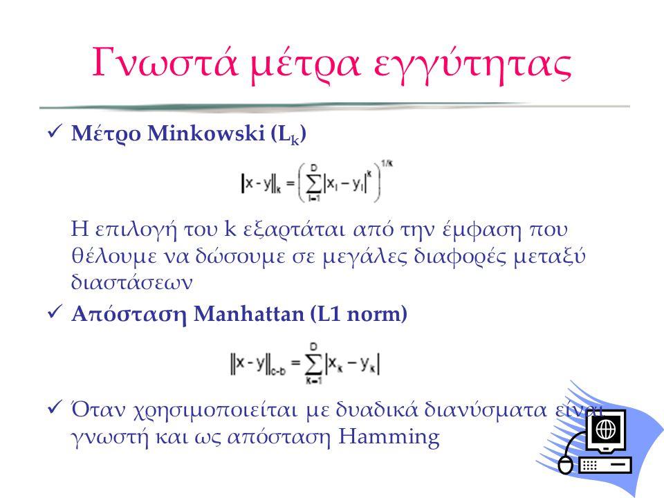 Γνωστά μέτρα εγγύτητας Μέτρο Minkowski (L k ) Η επιλογή του k εξαρτάται από την έμφαση που θέλουμε να δώσουμε σε μεγάλες διαφορές μεταξύ διαστάσεων Απόσταση Manhattan (L1 norm) Όταν χρησιμοποιείται με δυαδικά διανύσματα είναι γνωστή και ως απόσταση Hamming