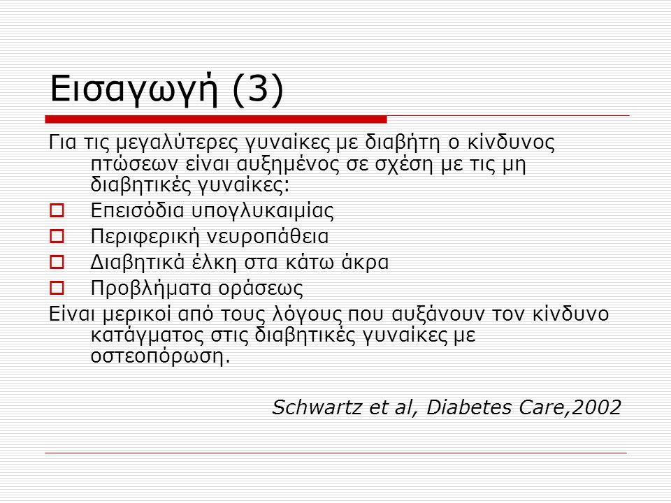 Εισαγωγή (3) Για τις μεγαλύτερες γυναίκες με διαβήτη ο κίνδυνος πτώσεων είναι αυξημένος σε σχέση με τις μη διαβητικές γυναίκες:  Επεισόδια υπογλυκαιμίας  Περιφερική νευροπάθεια  Διαβητικά έλκη στα κάτω άκρα  Προβλήματα οράσεως Είναι μερικοί από τους λόγους που αυξάνουν τον κίνδυνο κατάγματος στις διαβητικές γυναίκες με οστεοπόρωση.