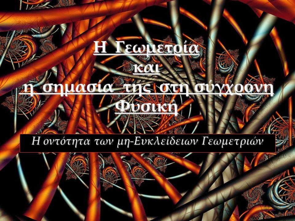 ΓΕΝΕΣΗ ΜΗ-ΕΥΚΛΕΙΔΕΙΩΝ ΓΕΩΜΕΤΡΙΩΝ Gerolamo Saccheri (1667-1733) 5° Αξίωμα: διαισθητικά μ η π ρ ο φ α ν έ ς εις άτοπον απαγωγή ΣΦΑΙΡΙΚΗ ΕΛΛΕΙΠΤΙΚΗ  Καμία παράλληλη ευθεία  «ΣΦΑΙΡΙΚΗ» ή «ΕΛΛΕΙΠΤΙΚΗ» γεωμετρία [θετικά καμπυλωμένος χώρος] Riemann (1826-1866) ΥΠΕΡΒΟΛΙΚΗ  Άπειρες παράλληλες  «ΥΠΕΡΒΟΛΙΚΗ» γεωμετρία [αρνητικά καμπυλωμένος χώρος] Bolyai (1802-1860) Lobachewsky (1792-1856)