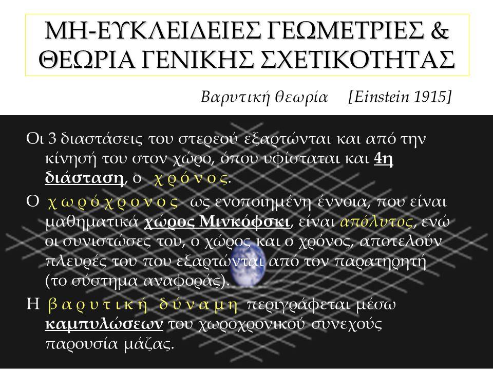 ΜΗ-ΕΥΚΛΕΙΔΕΙΕΣ ΓΕΩΜΕΤΡΙΕΣ & ΘΕΩΡΙΑ ΓΕΝΙΚΗΣ ΣΧΕΤΙΚΟΤΗΤΑΣ Βαρυτική θεωρία [Einstein 1915] Οι 3 διαστάσεις του στερεού εξαρτώνται και από την κίνησή του