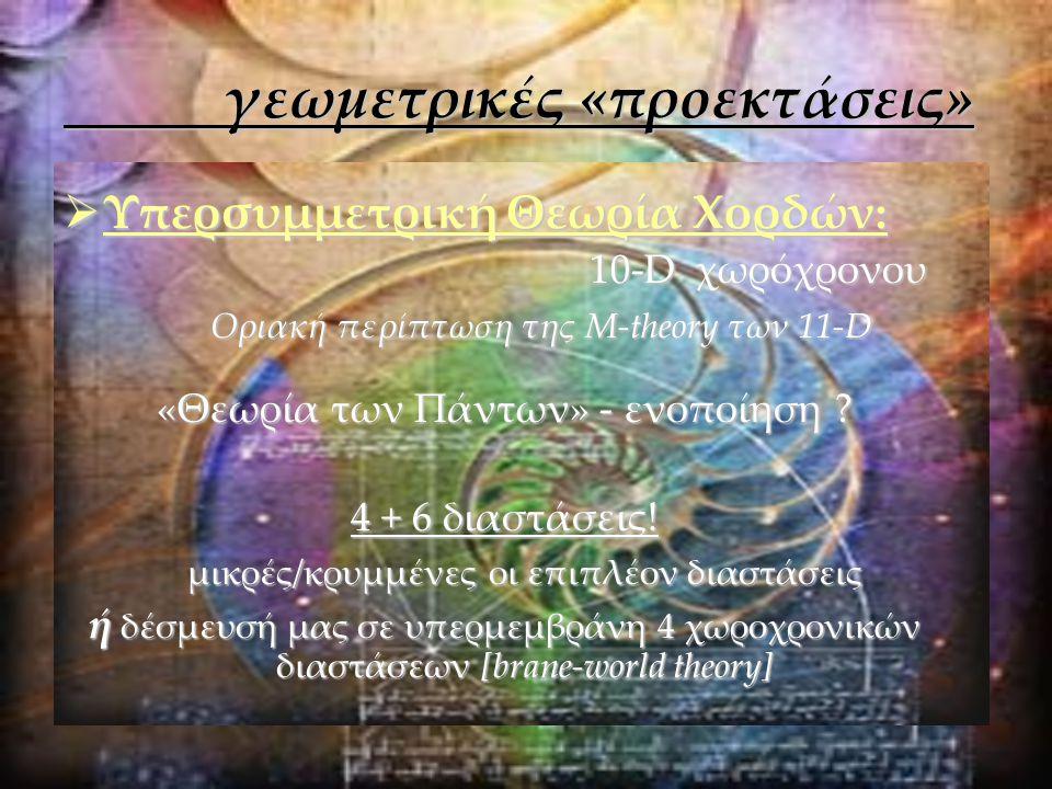 γεωμετρικές «προεκτάσεις» γεωμετρικές «προεκτάσεις»  Υπερσυμμετρική Θεωρία Χορδών: 10-Dχωρόχρονου Οριακή περίπτωση της M-theory των 11-D «Θεωρία των